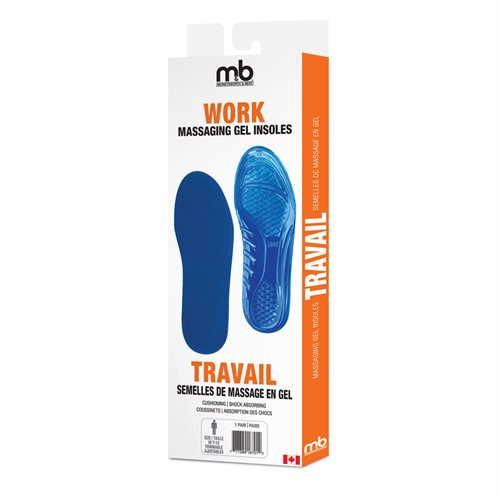 WORK MASSAGING GEL INSOLES - ASSORTED SIZES